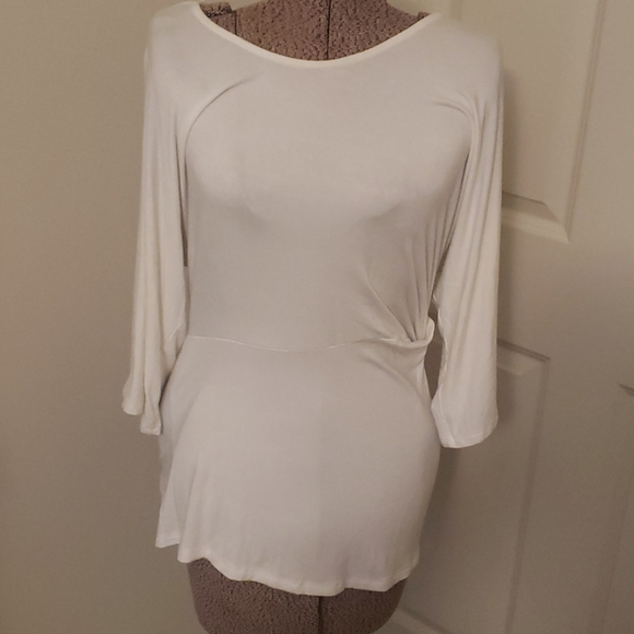 Annabelle white blouse gathered at one side sz S